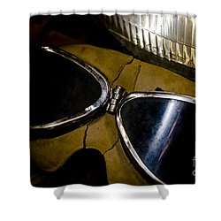 Shower Curtain featuring the photograph Vintage Motorcycle Goggles by Wilma  Birdwell