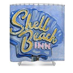 Vintage Neon- Shell Beach Inn Shower Curtain by Sheryl Heatherly Hawkins