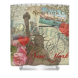 Vintage New York City Collage Shower Curtain