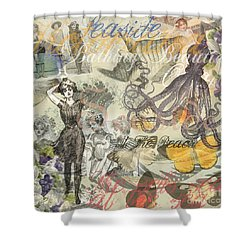 Vintage Octopus And Bathing Beauties Shower Curtain