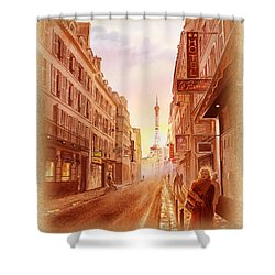 Shower Curtain featuring the painting Vintage Paris Street Eiffel Tower View by Irina Sztukowski
