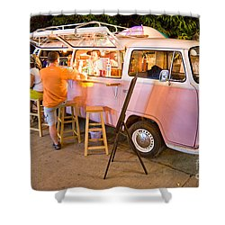 Vintage Pink Volkswagen Bus Shower Curtain by Luciano Mortula