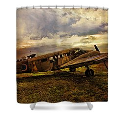 Vintage Plane Shower Curtain by Evie Carrier