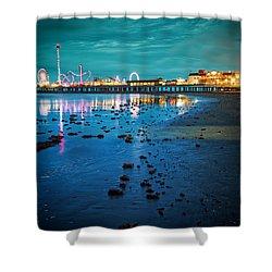 Vintage Pleasure Pier - Gulf Coast Galveston Texas Shower Curtain