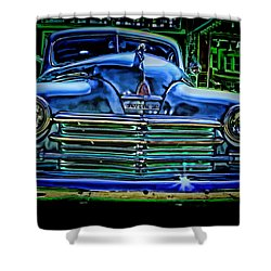 Vintage Plymouth Navy Metalic Art Shower Curtain