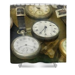 Vintage Pocket Watches Shower Curtain by Susan Savad
