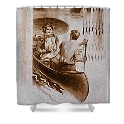 Vintage Post Card Of Couple In Boat Art Prints Shower Curtain