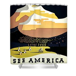 Vintage Poster - Montana Shower Curtain by Benjamin Yeager
