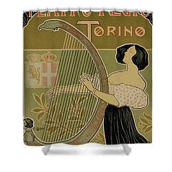 Vintage Poster Advertising The Theater Royal Turin Shower Curtain by Italian School