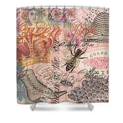 Vintage Queen Bee Collage  Shower Curtain
