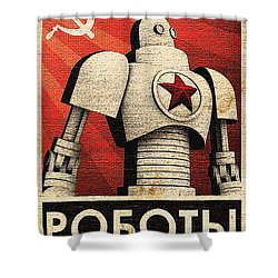 Vintage Russian Robot Poster Shower Curtain