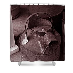 Shower Curtain featuring the photograph Vintage Sepia Galvanized Container by Lesa Fine