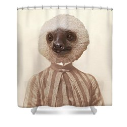 Vintage Sloth Girl Portrait Shower Curtain by Brooke T Ryan
