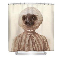 Vintage Sloth Girl Portrait Shower Curtain