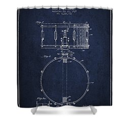 Snare Drum Patent Drawing From 1939 - Blue Shower Curtain by Aged Pixel