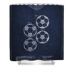Vintage Soccer Ball Patent Drawing From 1964 Shower Curtain by Aged Pixel