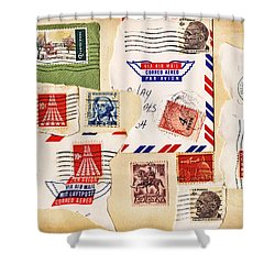 Shower Curtain featuring the photograph Vintage Stamps On Old Postcard by Vizual Studio