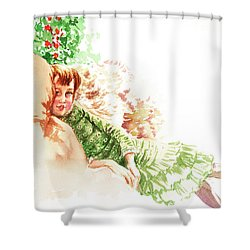 Shower Curtain featuring the painting Vintage Study Lilian Of James Tissot by Irina Sztukowski