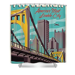 Pittsburgh Poster - Vintage Travel Bridges Shower Curtain