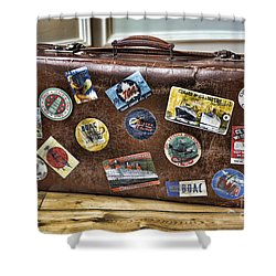 Shower Curtain featuring the photograph Vintage Suitcase With Labels by Craig B