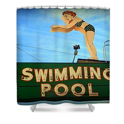 Vintage Swimming Lady Hotel Sign Shower Curtain