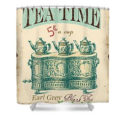 Vintage Tea Time Sign Shower Curtain by Jean Plout
