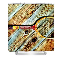 Vintage Tennis Shower Curtain by Benjamin Yeager
