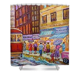 Vintage Tram Car-montreal Downtown Scene-classic Chevy Car Shower Curtain by Carole Spandau