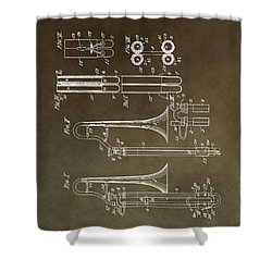 Vintage Trombone Patent Shower Curtain by Dan Sproul
