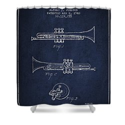 Vintage Trumpet Patent From 1940 - Blue Shower Curtain by Aged Pixel
