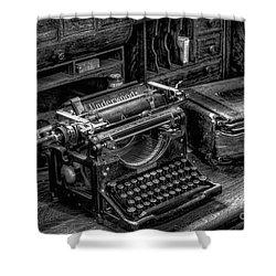 Vintage Typewriter Shower Curtain by Adrian Evans