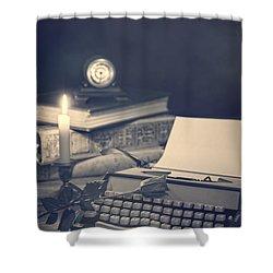 Vintage Typewriter Shower Curtain by Amanda Elwell