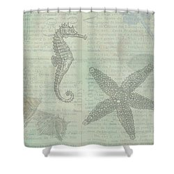Vintage Under The Sea Shower Curtain by Peggy Collins