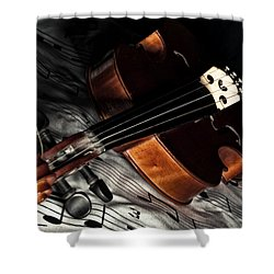 Vintage Violin Shower Curtain by Mike Santis