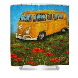 Vintage Vw Bus Shower Curtain by Pamela Allegretto