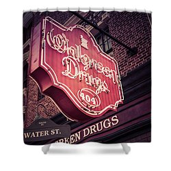 Vintage Walgreen Drugs Store Neon Sign Shower Curtain