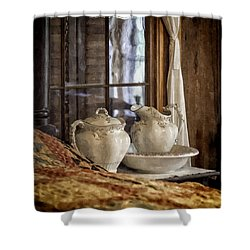 Vintage Wash Bowl And Pitcher Shower Curtain by Lynn Palmer