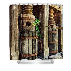 Vintage Wine Press Shower Curtain