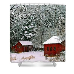 Vintage Winter Barn  Shower Curtain