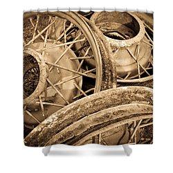 Vintage Wire Wheels Shower Curtain by Steve McKinzie