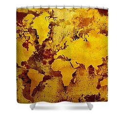 Vintage World Map Shower Curtain by Zaira Dzhaubaeva