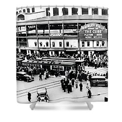 Vintage Wrigley Field Shower Curtain by Bill Cannon