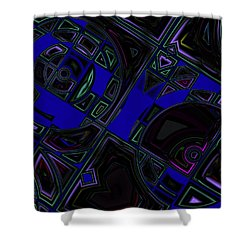 Shower Curtain featuring the digital art Vinyl Blues by Judi Suni Hall