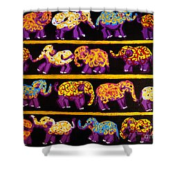 Shower Curtain featuring the painting Violet Elephants by Cassandra Buckley