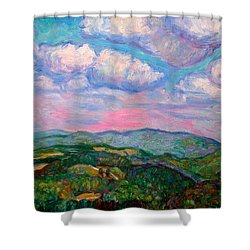 Violet Evening On Rocky Knob Shower Curtain by Kendall Kessler