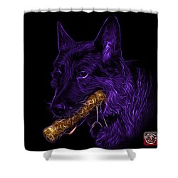 Violet German Shepherd And Toy - 0745 F Shower Curtain by James Ahn
