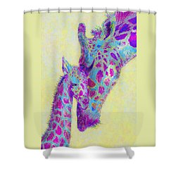 Violet Giraffes Shower Curtain by Jane Schnetlage