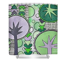 Violet-green Shower Curtain by Home Art