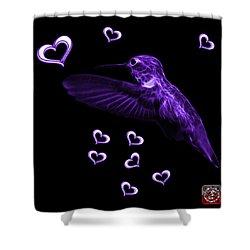 Shower Curtain featuring the digital art Violet Hummingbird - 2055 F M by James Ahn