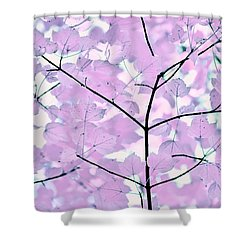 Violet Lavender Leaves Melody Shower Curtain by Jennie Marie Schell